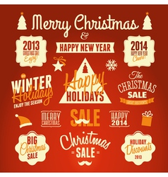 retro style christmas design elements set vector image