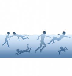 People swimming vector