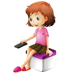 A girl holding a remote control vector image