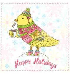 Cute cartoon hand drawn merry christmas bird vector