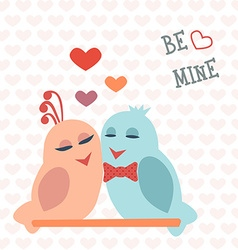 Card for valentines day birds heart be mine vector