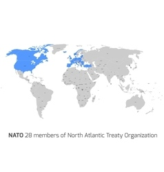 Nato member countries in world map vector