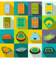 Stadium flat icons set vector