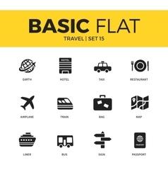 Basic set of travel icons vector