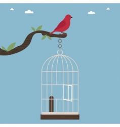 bird out of cage vector image vector image