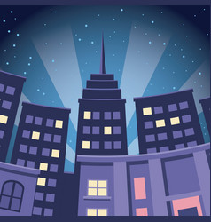 Comic city building skyscraper night view vector