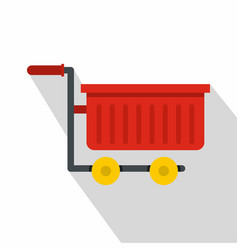 Empty red plastic shopping trolley icon flat style vector