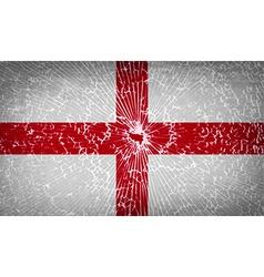 Flags england with broken glass texture vector