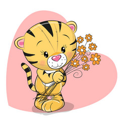 Greeting card cute tiger with flowers vector