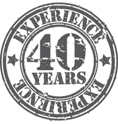 Grunge 40 years of experience rubber stamp vector image vector image