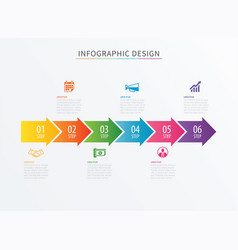 Infographics arrow number 6 step template vector