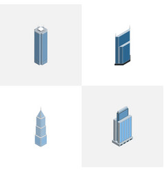 Isometric construction set of skyscraper urban vector