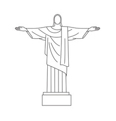 line icon of christ the redeemer rio de vector image vector image