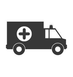 monochrome silhouette with ambulance and cross vector image vector image