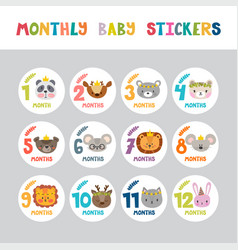 Monthly baby stickers for little girls and boys vector