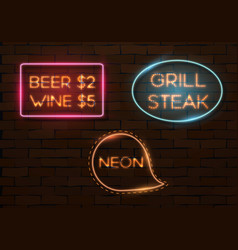 Neon quote frame template vector