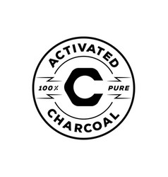One hundred percent pure activated charcoal with vector