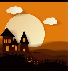 paper art happy halloween card cut style vector image