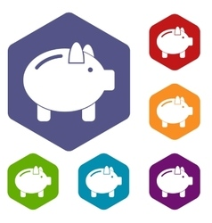 Piggy bank icons set vector image