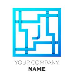 Realistic letter j logo in colorful square maze vector