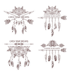 Set of hand drawn boho style design with mandala vector