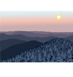 Smoky mountain sunset vector