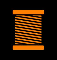 Thread sign orange icon on black vector