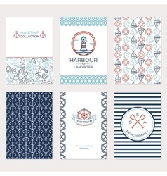 Travel by sea Set of Maritime collection vector image
