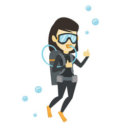 Woman diving with scuba and showing ok sign vector