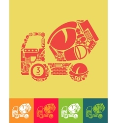 Cement mixer icon vector