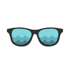 Black sunglasses with a beach reflecting icon vector