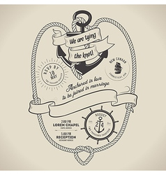 Vintage nautical themed wedding invitation vector