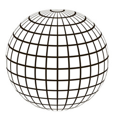 3d globe with a coordinate grid meridian and vector