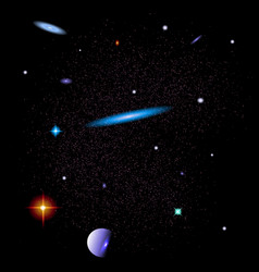abstract space background with galaxies stars and vector image