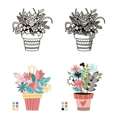 Flowers in pots painted black line on a white vector