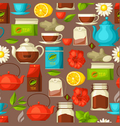 seamless pattern with tea and accessories packs vector image