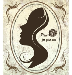 Silhouette of a womans face on a retro background vector