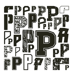Set versions of letters p vector
