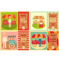 Food cart with vendor vector