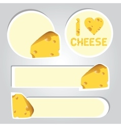 Stickers of cheese vector