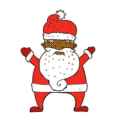 Comic cartoon ugly santa claus vector