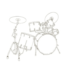 Drum set drawing vector