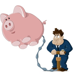 man and pig vector image