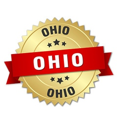 Ohio round golden badge with red ribbon vector