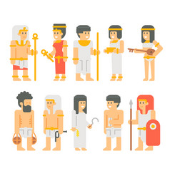 Ancient egyptian people set cartoon design vector