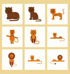Assembly flat icons nature cartoon tiger lioness vector