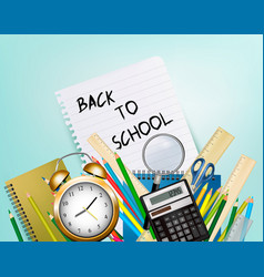 back to school background with supplies and sheet vector image vector image