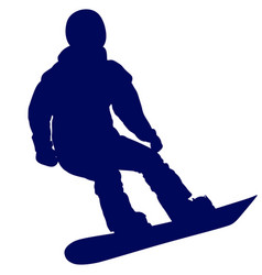 blue silhouette of a snowboarder vector image vector image