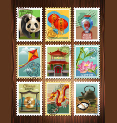 china travel stamps set poster vector image vector image