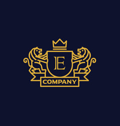 Coat of arms letter e company vector